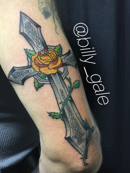 Tattoos - Celtic Cross with Yellow Rose for Mom - 127678