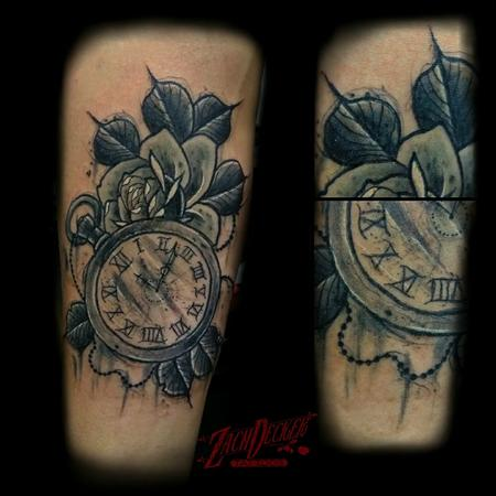 Tattoos - Sketchy Traditional-ish Rose and Pocketwatch - 131393