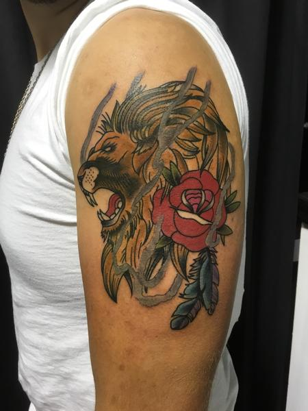 Tattoos - Lion & Traditional Rose - 128436