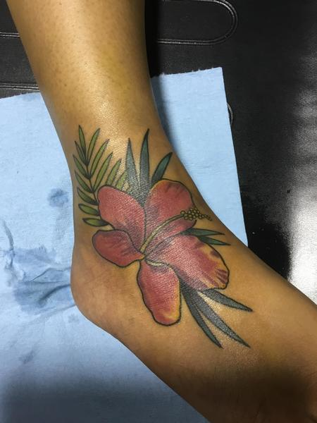 Tattoos - Colorful Flower on a tough girl - 128870