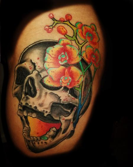 Tattoos - skull flowers - 133870