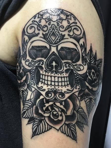 Tattoos - Diamond-Eyed Sugar Skull  - 129777