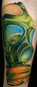 Mike Demasi - gas mask tattoo