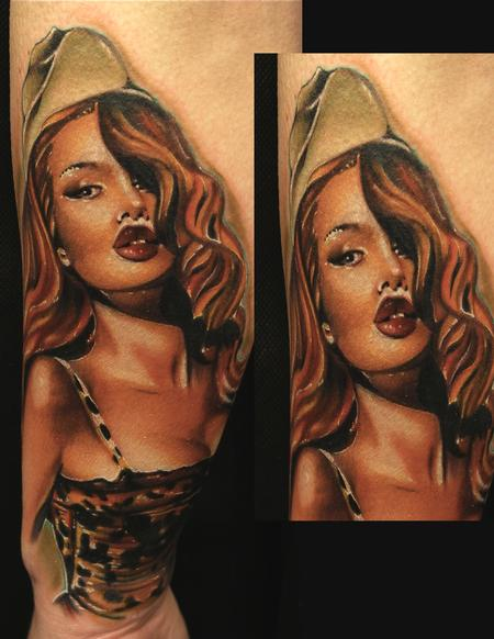 Army Pin up Color tattoo Tattoo Design Thumbnail