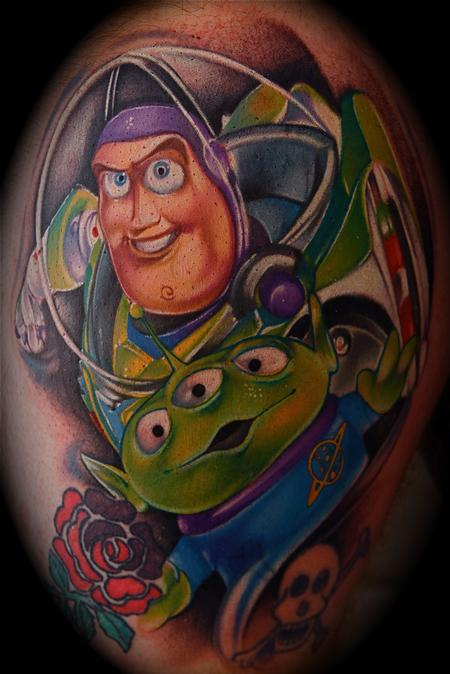 Buzz Lightyear Toy Story color Tattoo Mike DeMasi Art Junkies Tattoo Tattoo Design Thumbnail