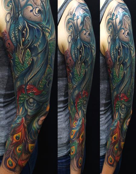 Peacock Sleeve Color Tattoo Tattoo Design Thumbnail