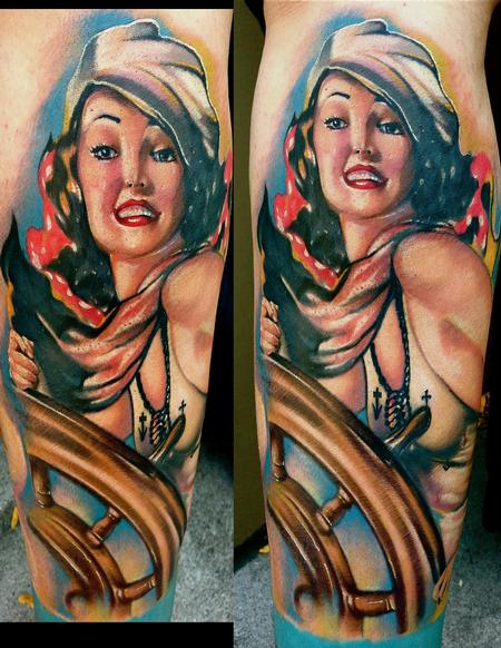 Tattoos - Sailor Pinup color Tattoo - 70169