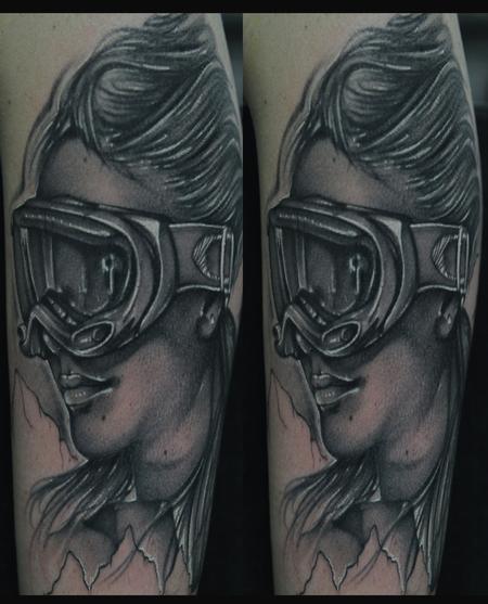 Mike Demasi - Black and gray snow boarder portrait tattoo