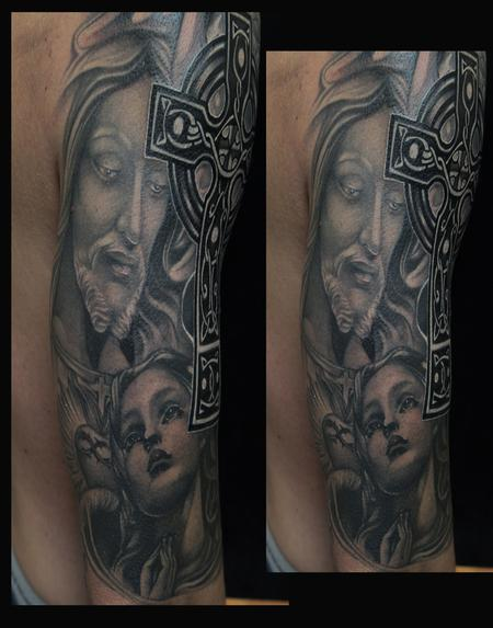 Mike Demasi - Black and gray Religious Tattoo