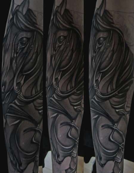 Mike Demasi - Black and gray Horse Tattoo