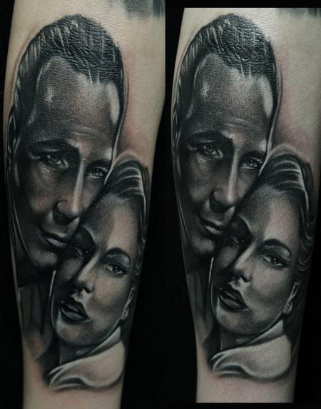 Mike Demasi - Casablanca Movie Black and Gray Portrait Tattoos