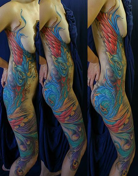 Mike Demasi - Peacock color Tattoo