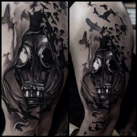 Mike Demasi - Gasmask Black and gray tattoo