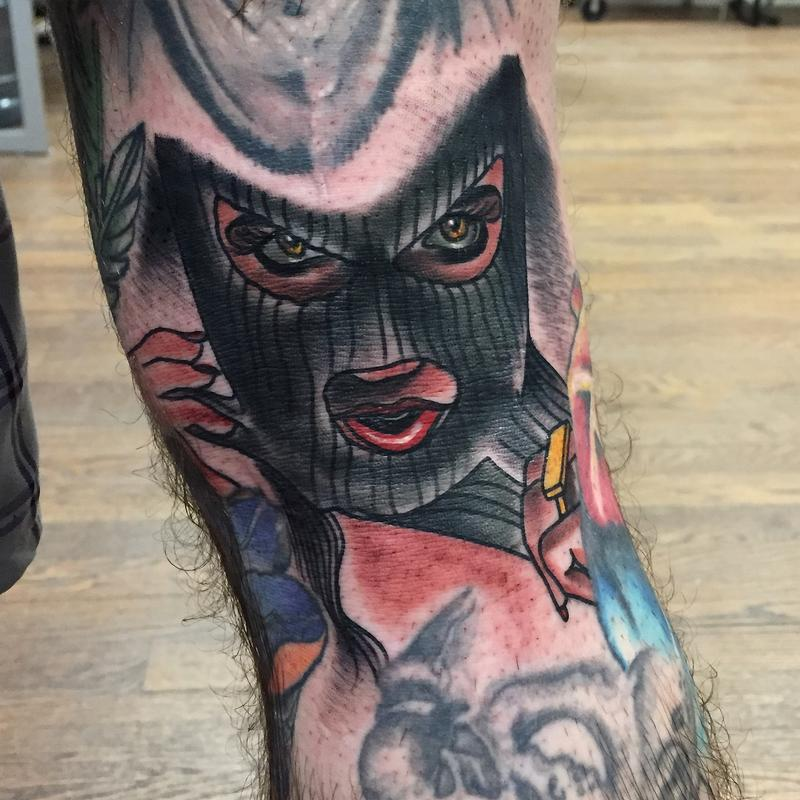 traditional color girl in ski mask tattoo gary dunn art