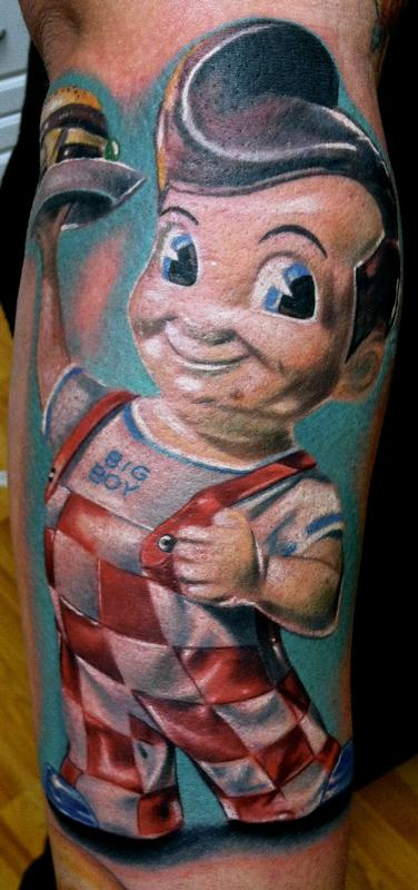 Realistic color bob 39 s big boy tattoo brent olson art for Texas bobs tattoos