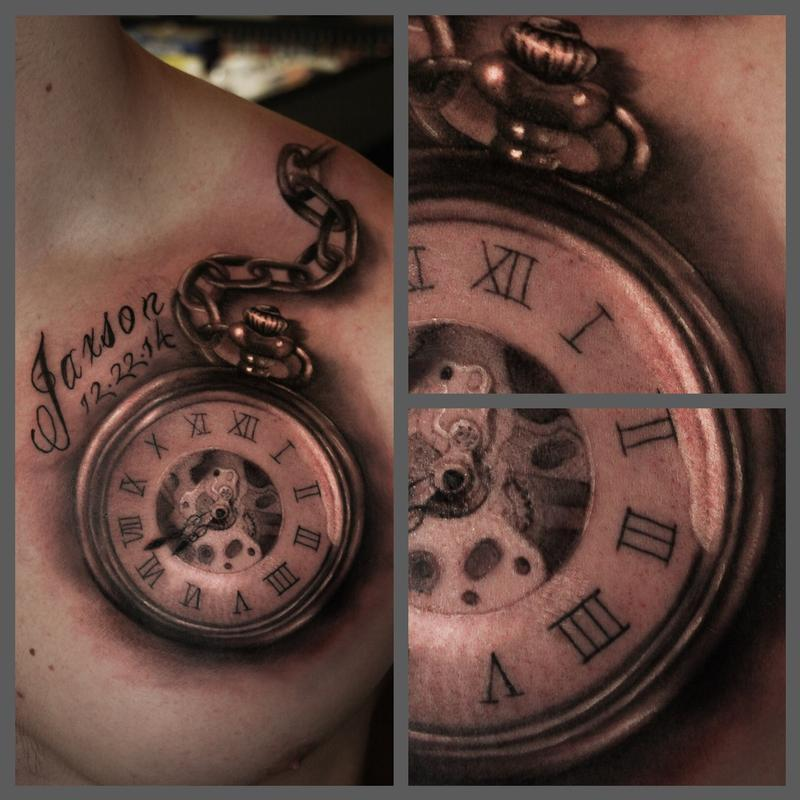 Black and grey pocket watch by ryan mullins tattoonow for Pocket watches tattoos