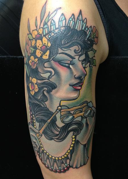 Traditional color vintage girl tattoo, Gary Dunn Art Junkies Tattoo Tattoo Design Thumbnail