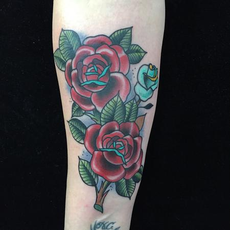 Traditional color roses tattoo, Gary Dunn Art Junkies Tattoo  Design Thumbnail