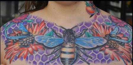 colorful bee chest piece with flowers tattoo Tattoo Design Thumbnail