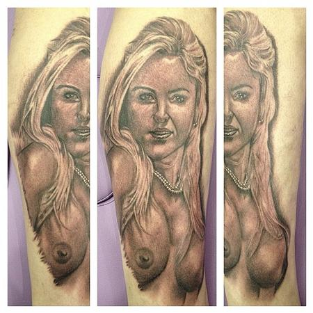 Tattoos - realistic black and gray portrait tattoo - 64512