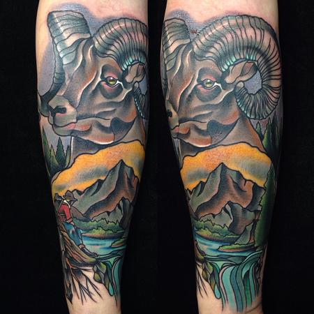 Traditional color mountain sheep, with mountain scenery tattoo. Gary Dunn Art Junkies Tattoo  Tattoo Design Thumbnail