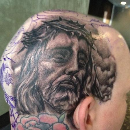 Big Gus - black and gray realistic portrait tattoo of jesus