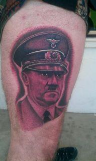 Scott Grosjean - realistic portrait of Hitler tattoo