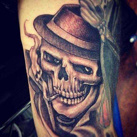 Big Gus - realistic black and gray skull with hat tattoo, Big Gus Art Junkies Tatto