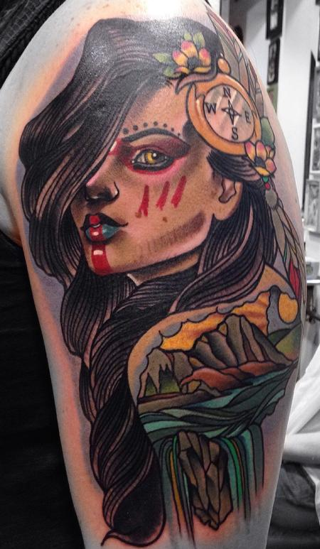 Traditional color native girl with compass in hair tattoo. Gary Dunn Art Junkies Tattoo  Tattoo Design Thumbnail