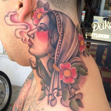 Tim Mcevoy - traditional gypsy girl tattoo, Tim McEvoy Art Junkies Tattoo