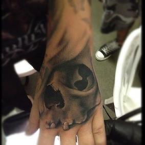 Ryan Mullins - Black and grey skull tattoo