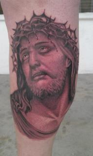 Scott Grosjean - black and gray realistic portrait of Jesus tattoo