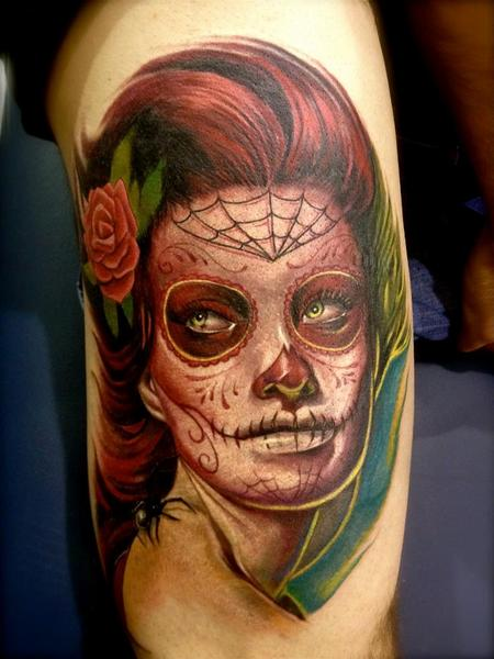 Tattoos - colored realistic portrait of day of the dead tattoo - 64266