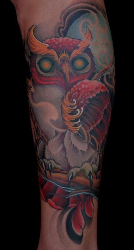 Traditional colored owl tattoo Tattoo Design Thumbnail