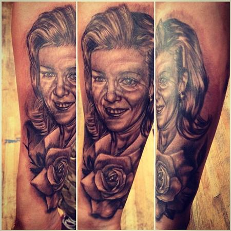 Big Gus - black and gray realistic portrait tattoo
