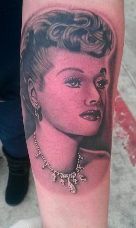 Scott Grosjean - black and gray realistic Lucy portrait tattoo