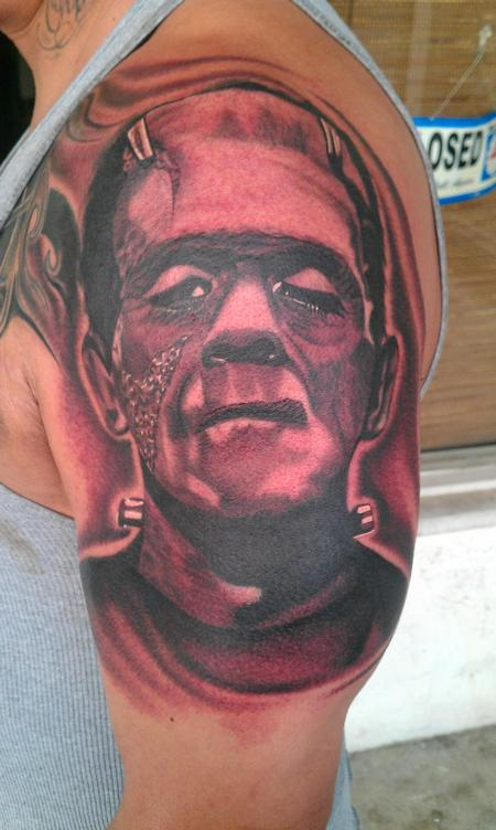Scott Grosjean - black and grey realistic frankenstein portrait