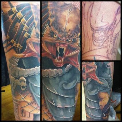 Tim Mcevoy - Colored Alien and Predator sleeve by Tim McEvoy Art Junkies Tattoos