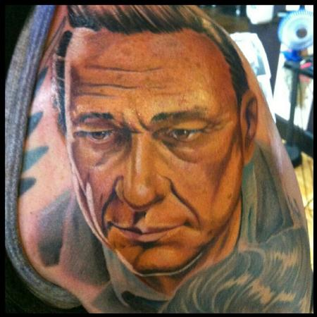 Tim Mcevoy - Color realistic portrait of Johnny Cash tattoo