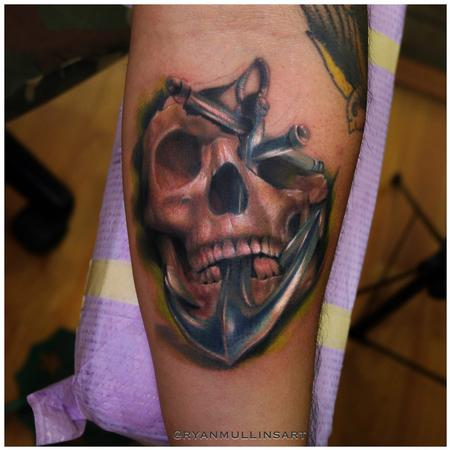 Realistic color skull with anchor tattoo. Ryan Mullins Art Junkies Tattoo Tattoo Design Thumbnail
