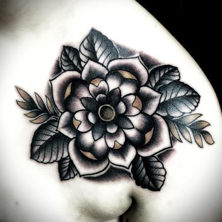 Tattoos - Traditional color flower tattoo. Frichard Adams Art Junkies Tattoo - 106814