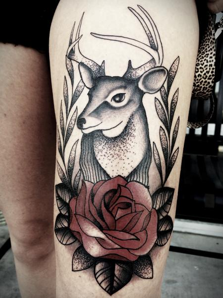 Frichard Adams - Traditional deer with rose tattoo. Frichard Adams Art Junkies Tattoo