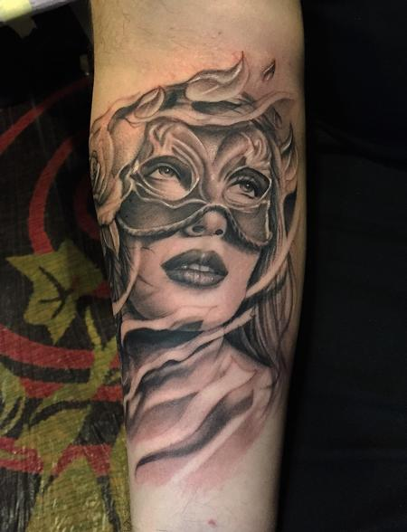Realistic black and gray portrait of girl with mask. Ryan Mullins Art Junkies Tattoo Tattoo Design Thumbnail