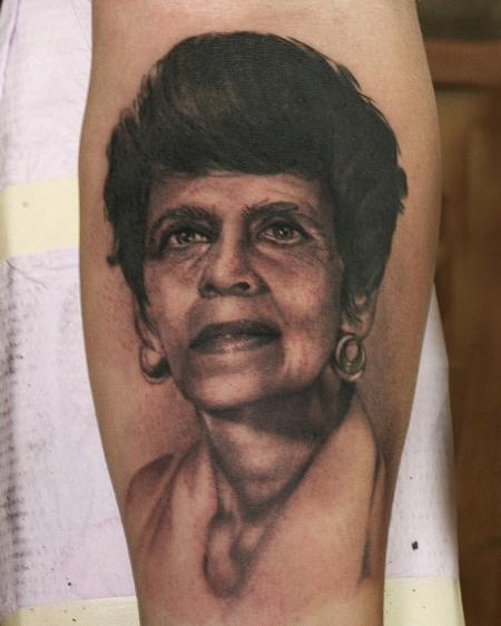 Realistic black and gray portrait, Ryan Mullins Art Junkies Tattoo  Tattoo Design Thumbnail