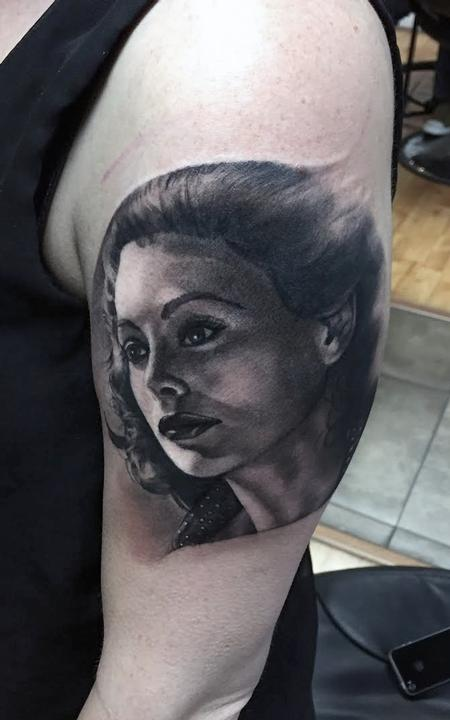Realistic black and gray portrait. Ryan Mullins Art Junkies Tattoo  Tattoo Design Thumbnail