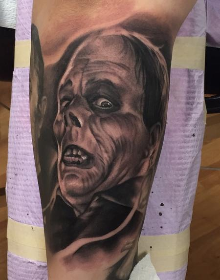 Tattoos - Realistic black and gray portrait from horror movie tattoo. Ryan Mullins Art Junkies Tattoo  - 102295