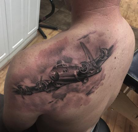 Realistic black and gray B13 plane tattoo, Ryan Mullins Art Junkies Tattoo  Design Thumbnail