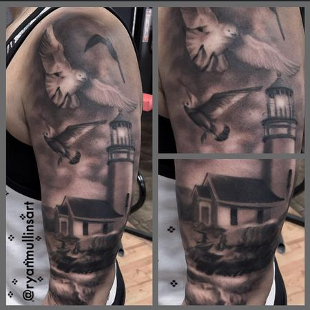 Black and gray realistic light house with ocean and birds tattoo. Ryan Mullins Art Junkies Tattoo  Design Thumbnail