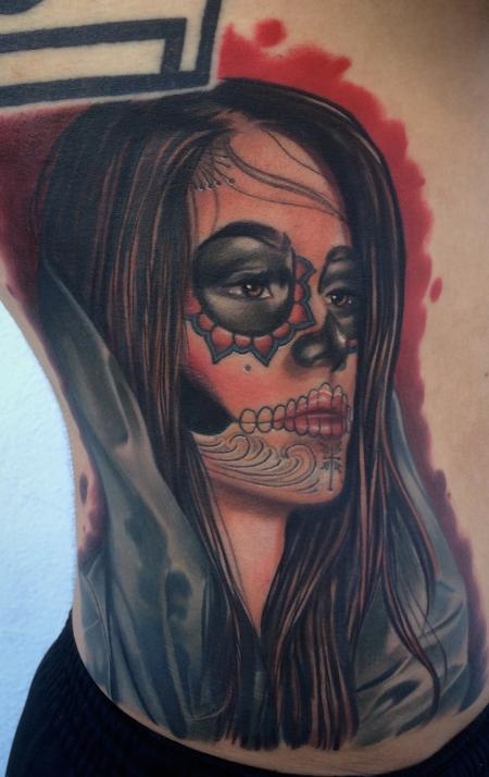 Brent Olson - realistic color day of the dead girl tattoo. Brent Olson Art Junkies Tattoo