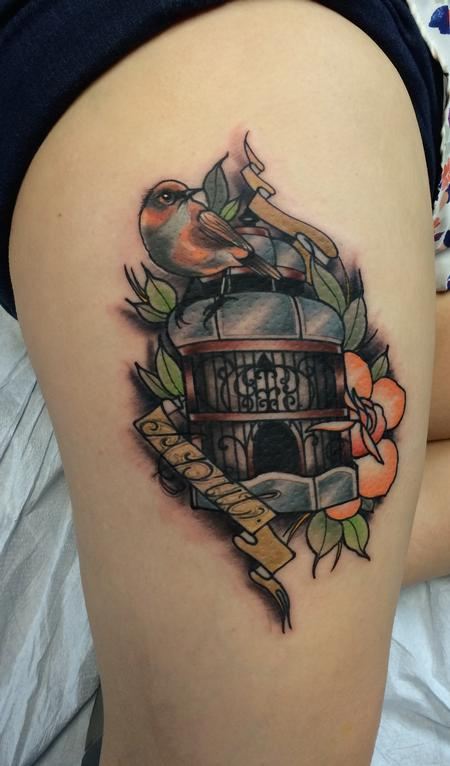 Traditional color bird cage with bird and name tattoo, Mike Riedl Art Junkies Tattoo. Tattoo Design Thumbnail